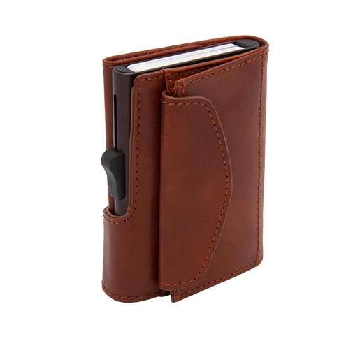 XL Aluminum Wallet with Vegetable Genuine Leather and Coins Pocket - Brown Macchiato