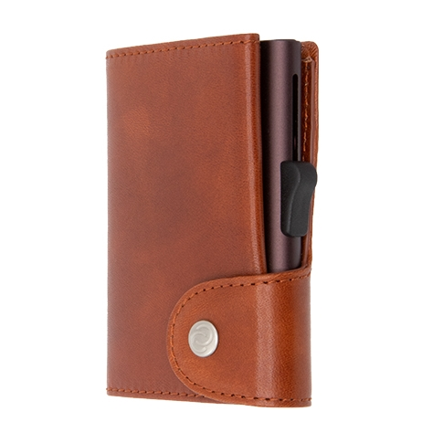 C-Secure XL Aluminum Wallet with Vegetable Genuine Leather and Coins Pocket - Brown Macchiato