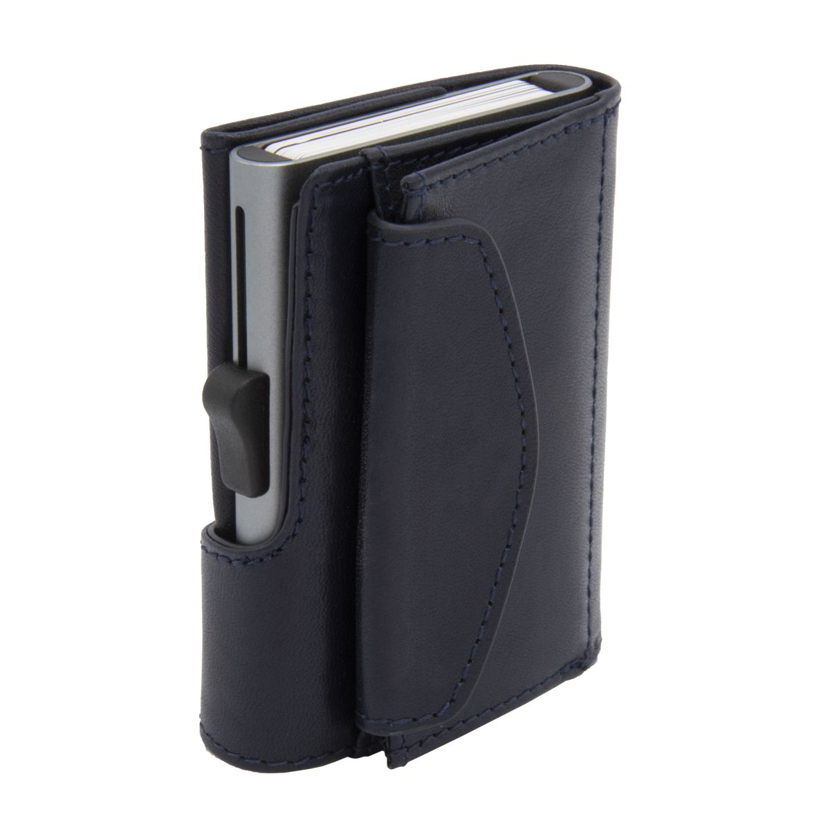 XL Aluminum Wallet with Genuine Leather and Coins Pocket - Blue Montana