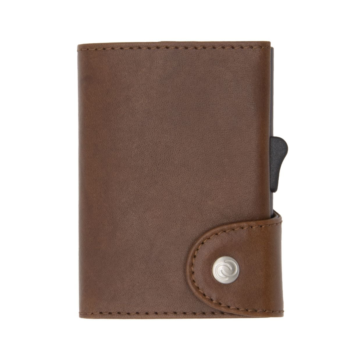 XL Aluminum Wallet with Vegetable Genuine Leather - Brown
