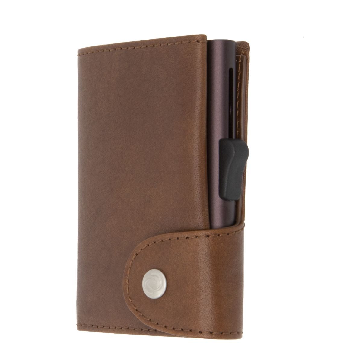 C-Secure XL Aluminum Wallet with Vegetable Genuine Leather - Brown