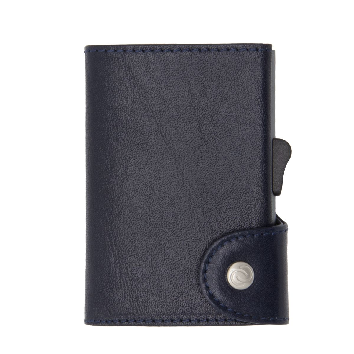 C-Secure XL Aluminum Wallet with Vegetable Genuine Leather and Coins Pocket - Blue Montana