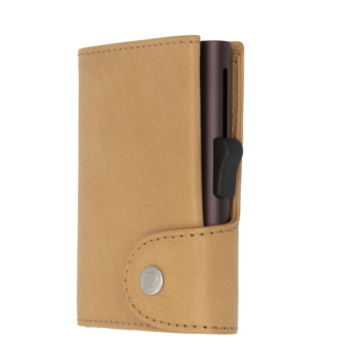 C-Secure XL Aluminum Wallet with Vegetable Genuine Leather - Saddle