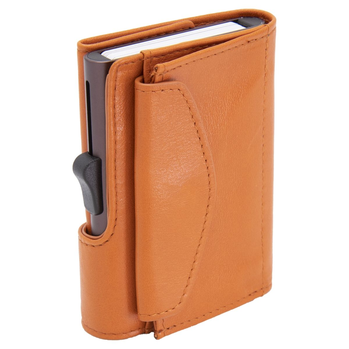 XL Aluminum Wallet with Genuine Leather and Coins Pocket - Arancio