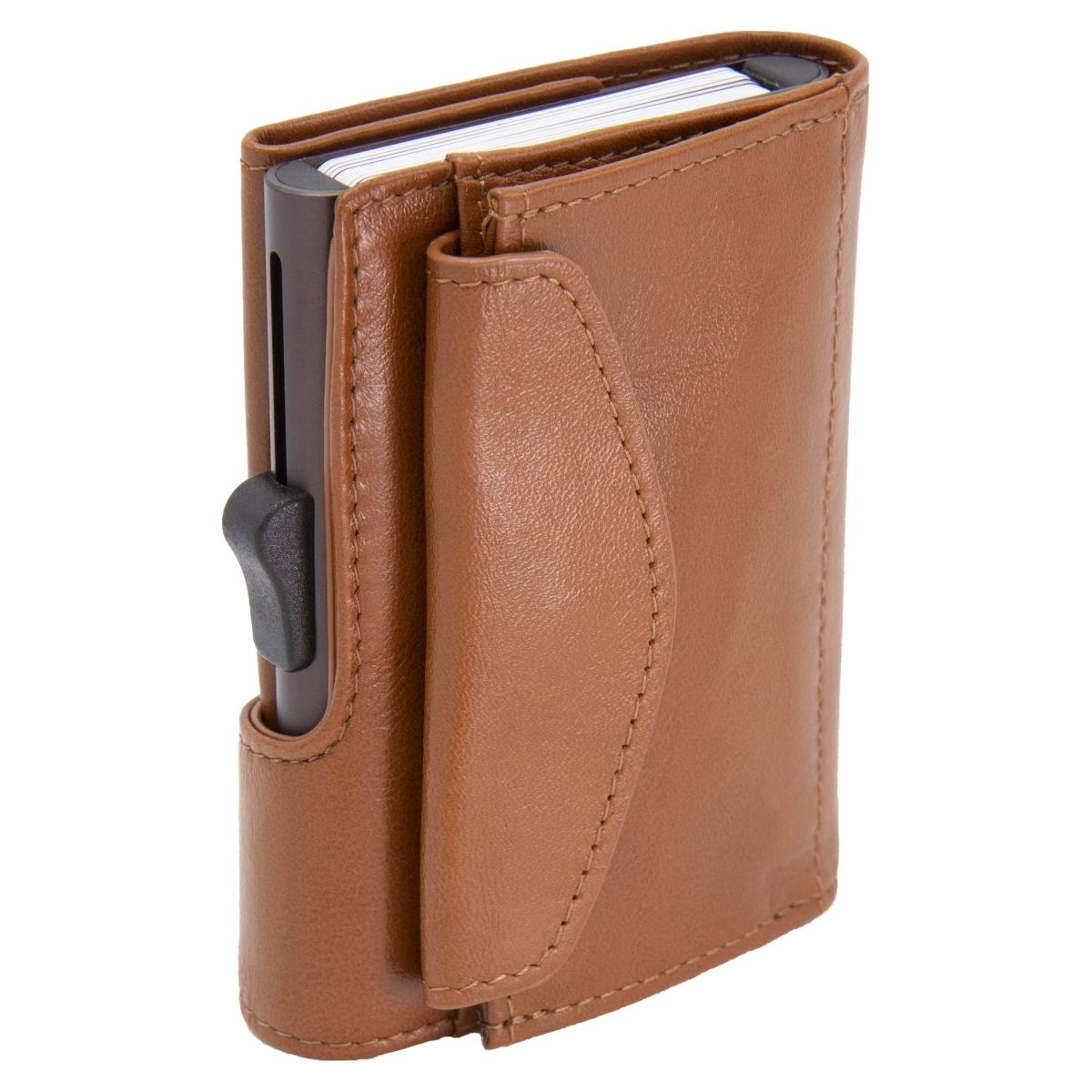 XL Aluminum Wallet with Genuine Leather and Coins Pocket - Chestnut