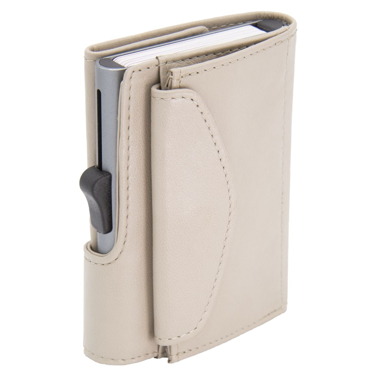 C-Secure XL Aluminum Wallet with Genuine Leather and Coins Pocket - Off White
