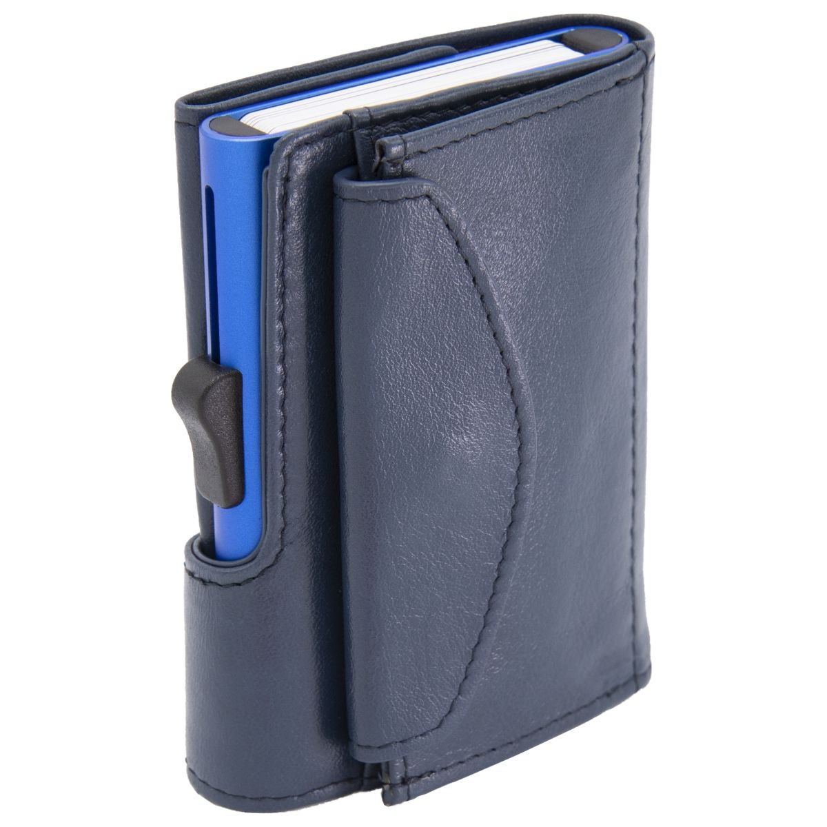 XL Aluminum Card Holder with Genuine Leather and Coins Pocket - Blue