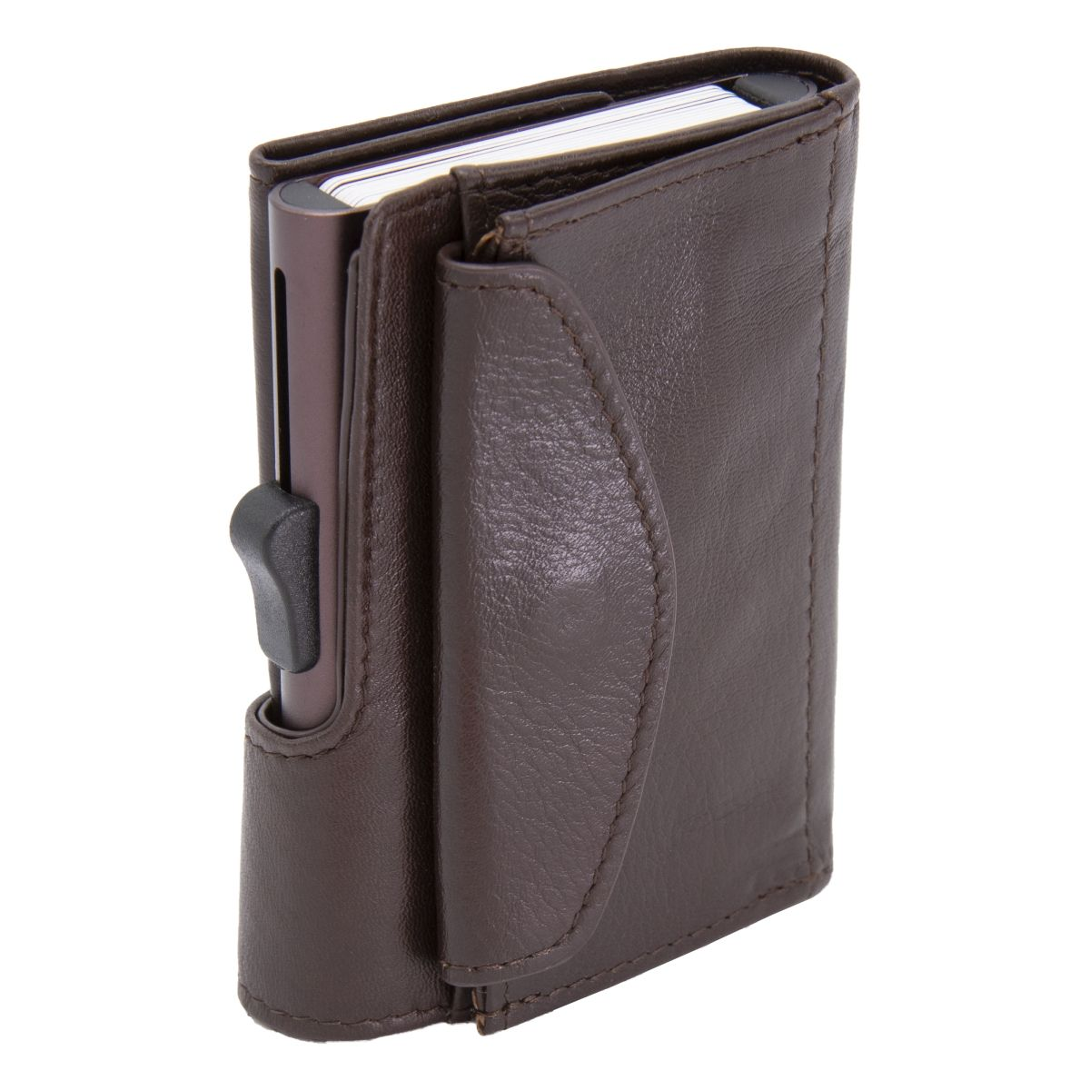 XL Aluminum Wallet with Genuine Leather and Coins Pocket - Mogano Brown