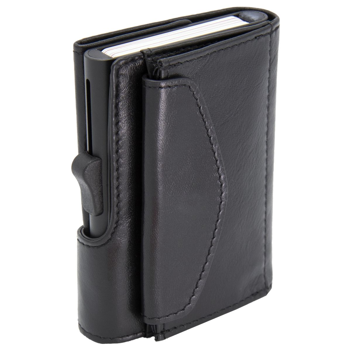 XL Aluminum Wallet with Genuine Leather and Coins Pocket - Black