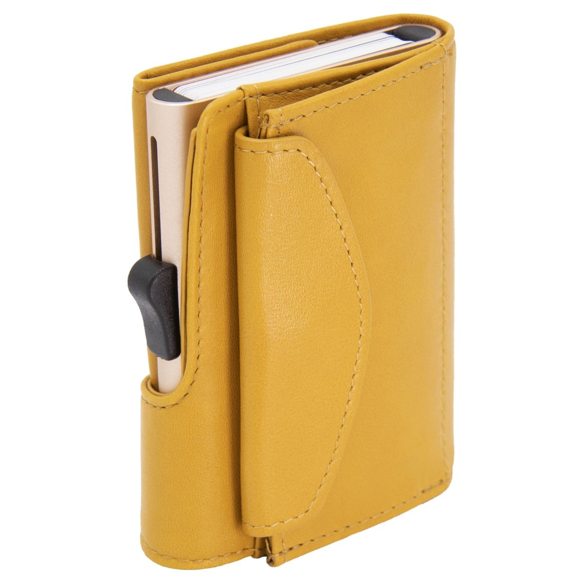 C-Secure XL Aluminum Wallet with Genuine Leather and Coins Pocket - Solis Yellow