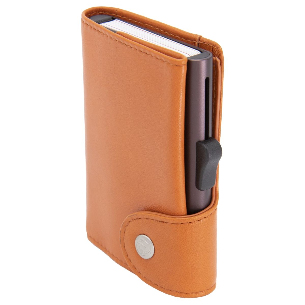 XL Aluminum Wallet with Genuine Leather - Arancio Orange