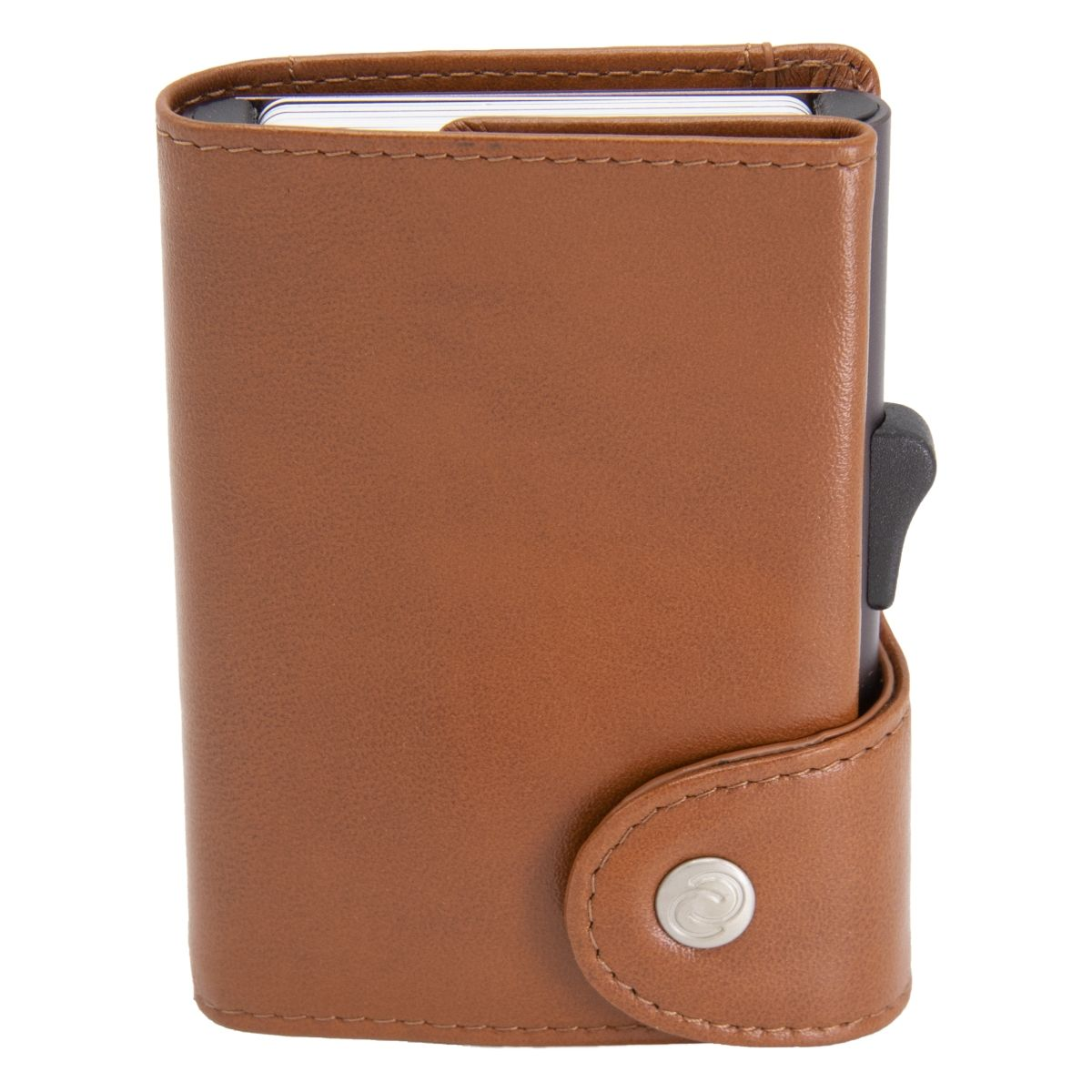 C-Secure XL Aluminum Wallet with Genuine Leather and Coins Pocket - Chestnut