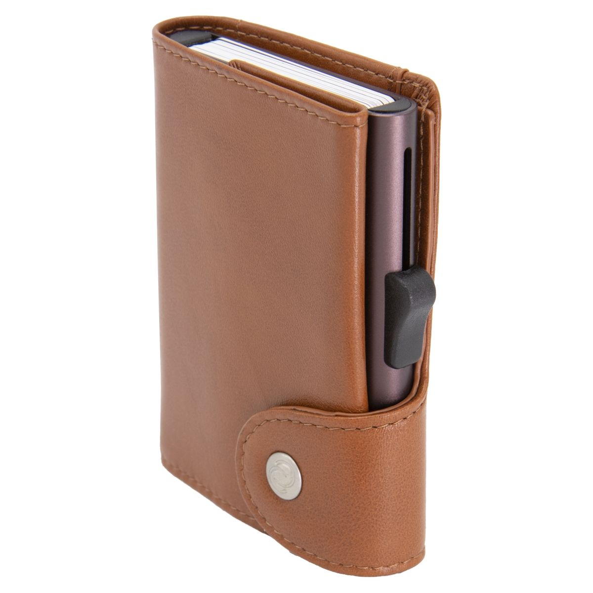 C-Secure XL Aluminum Card Holder with PU Leather - Brown