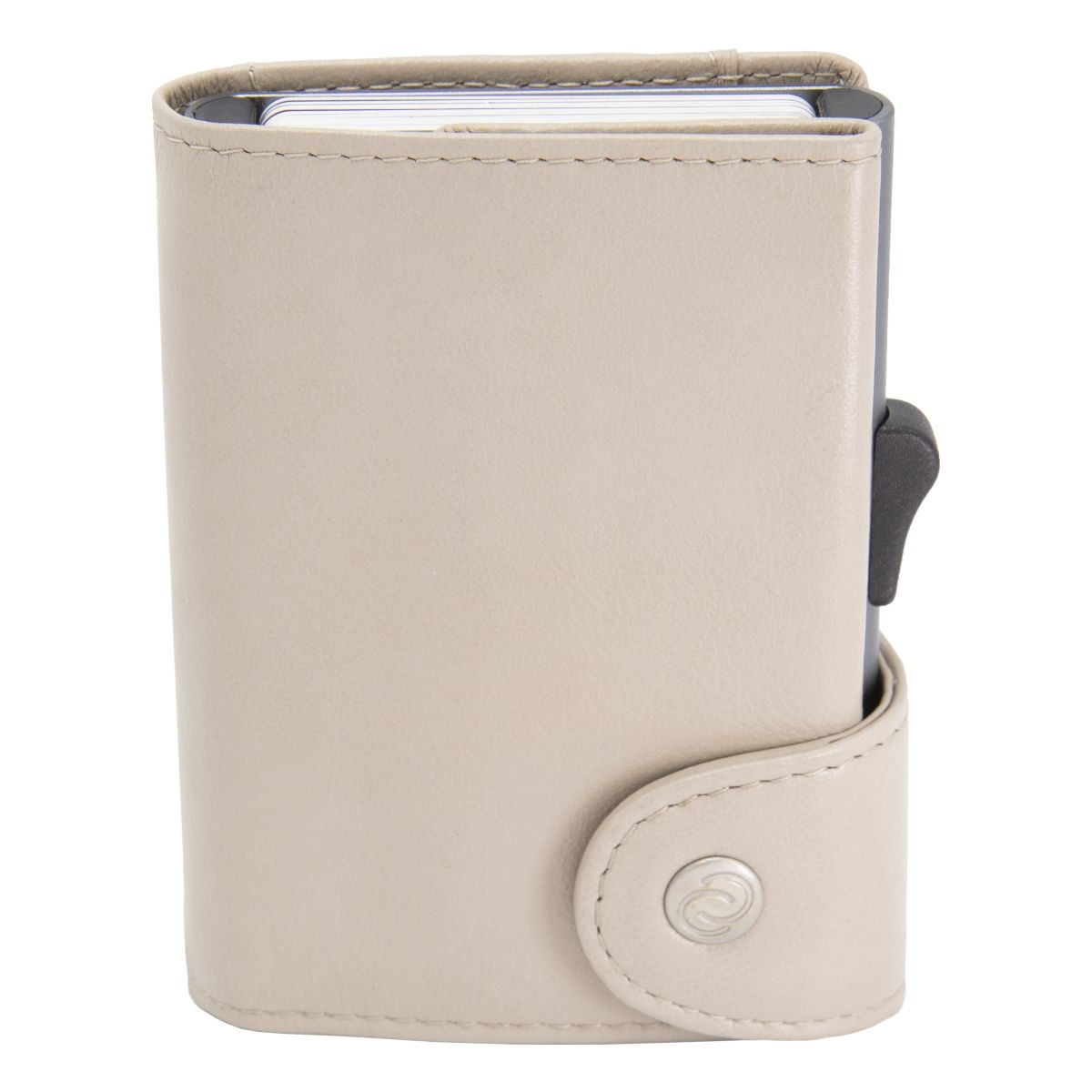 C-Secure XL Aluminum Wallet with Genuine Leather - Off White