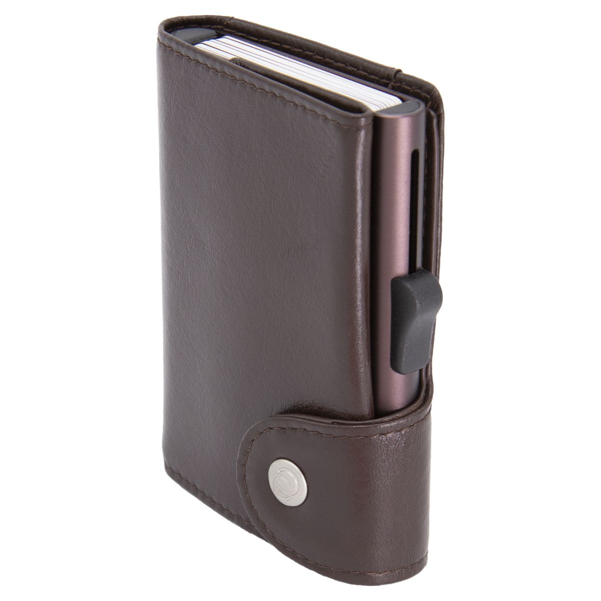 C-Secure XL Aluminum Wallet with Vegetable Genuine Leather - Mogano Brown