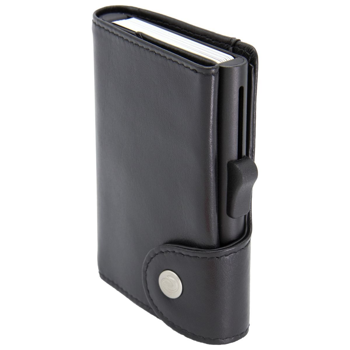 C-Secure XL Aluminum Card Holder with Genuine Leather and Coins Pocket - Black