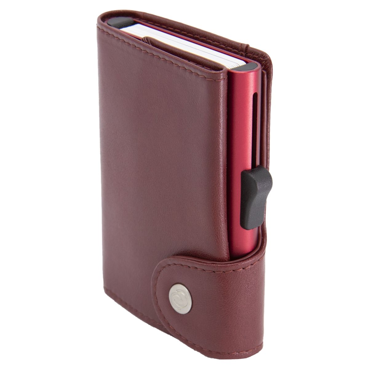 C-Secure XL Aluminum Wallet with Genuine Leather - Red