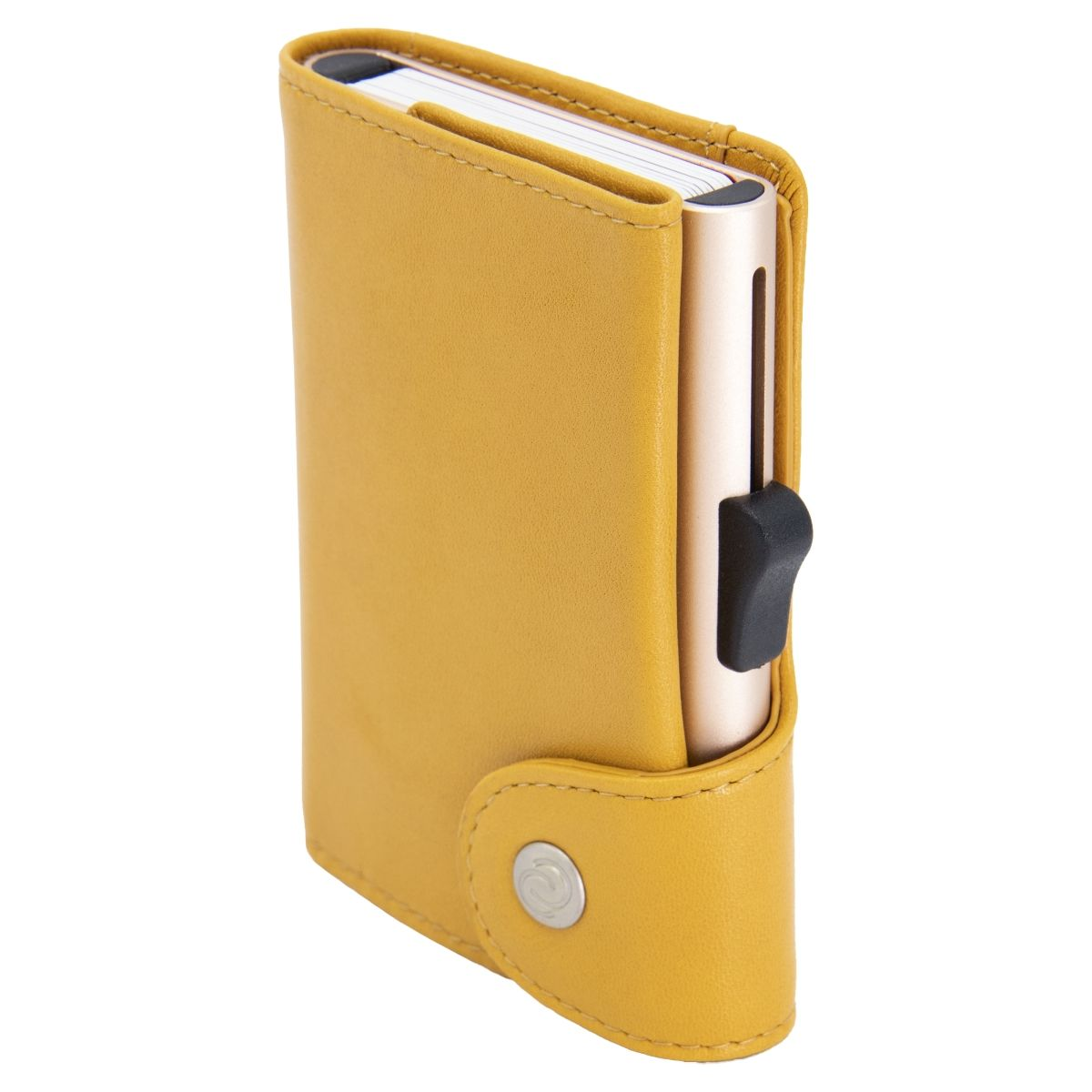 XL Aluminum Wallet with Genuine Leather - Solis Yellow
