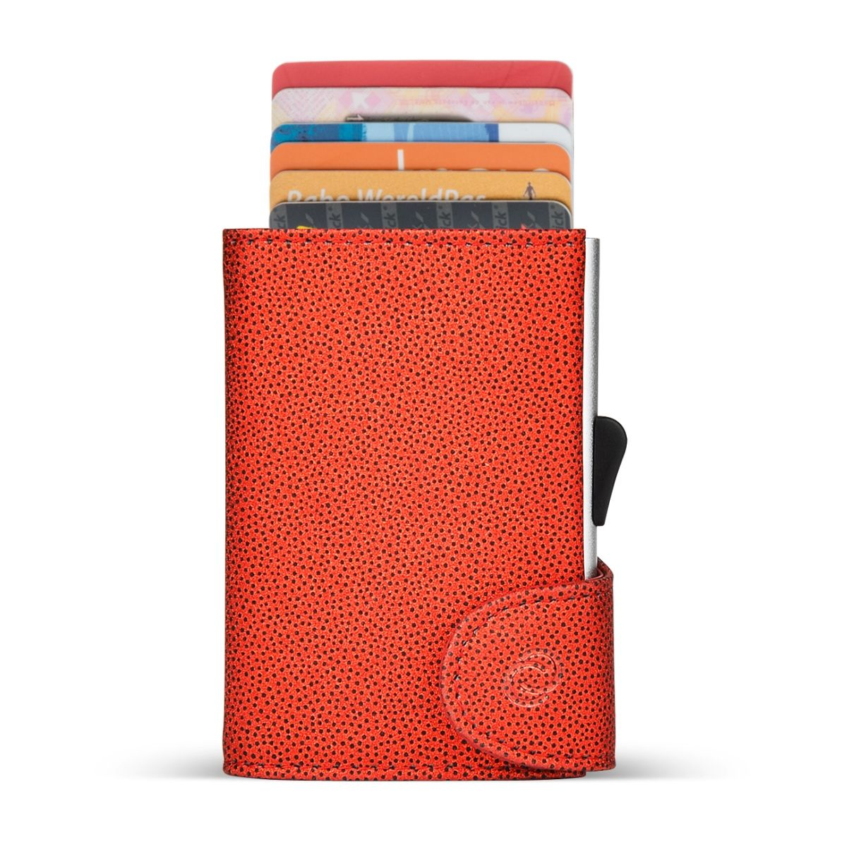 C-Secure Aluminum Card Holder with Genuine Leather - Fashion Red