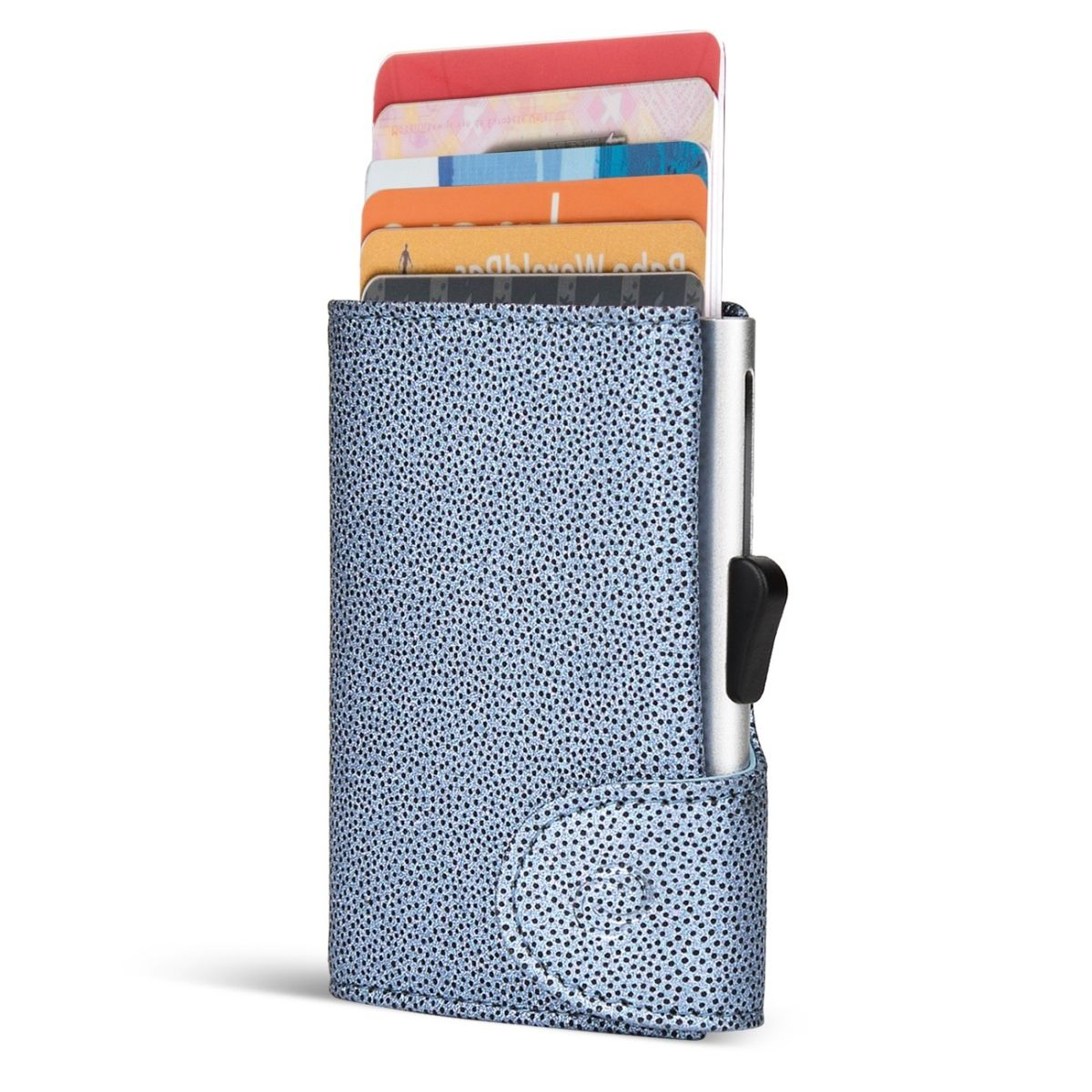 C-Secure Aluminum Card Holder with Genuine Leather - Fashion Blue