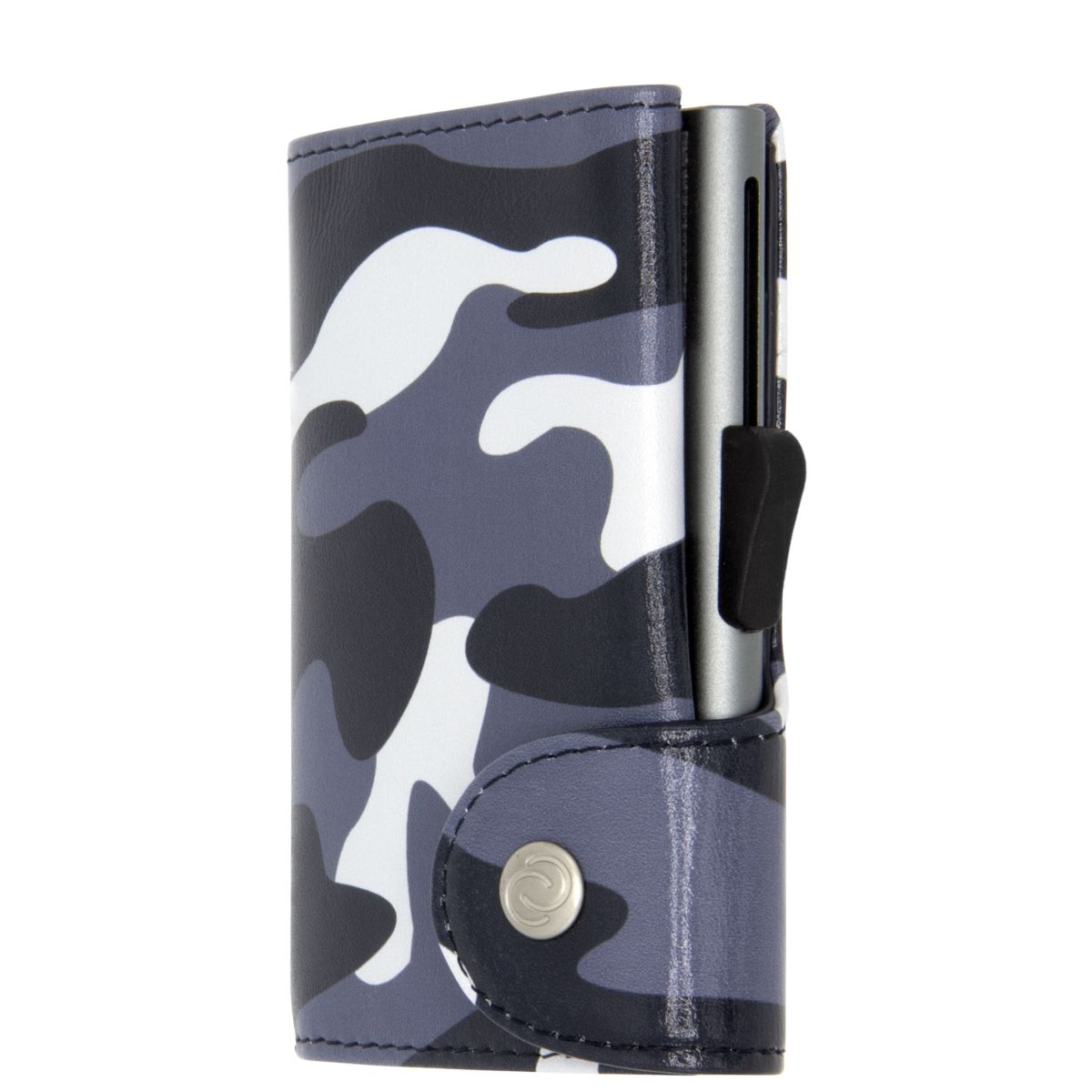 C-Secure Aluminum Card Holder with Genuine Leather - Camo Black