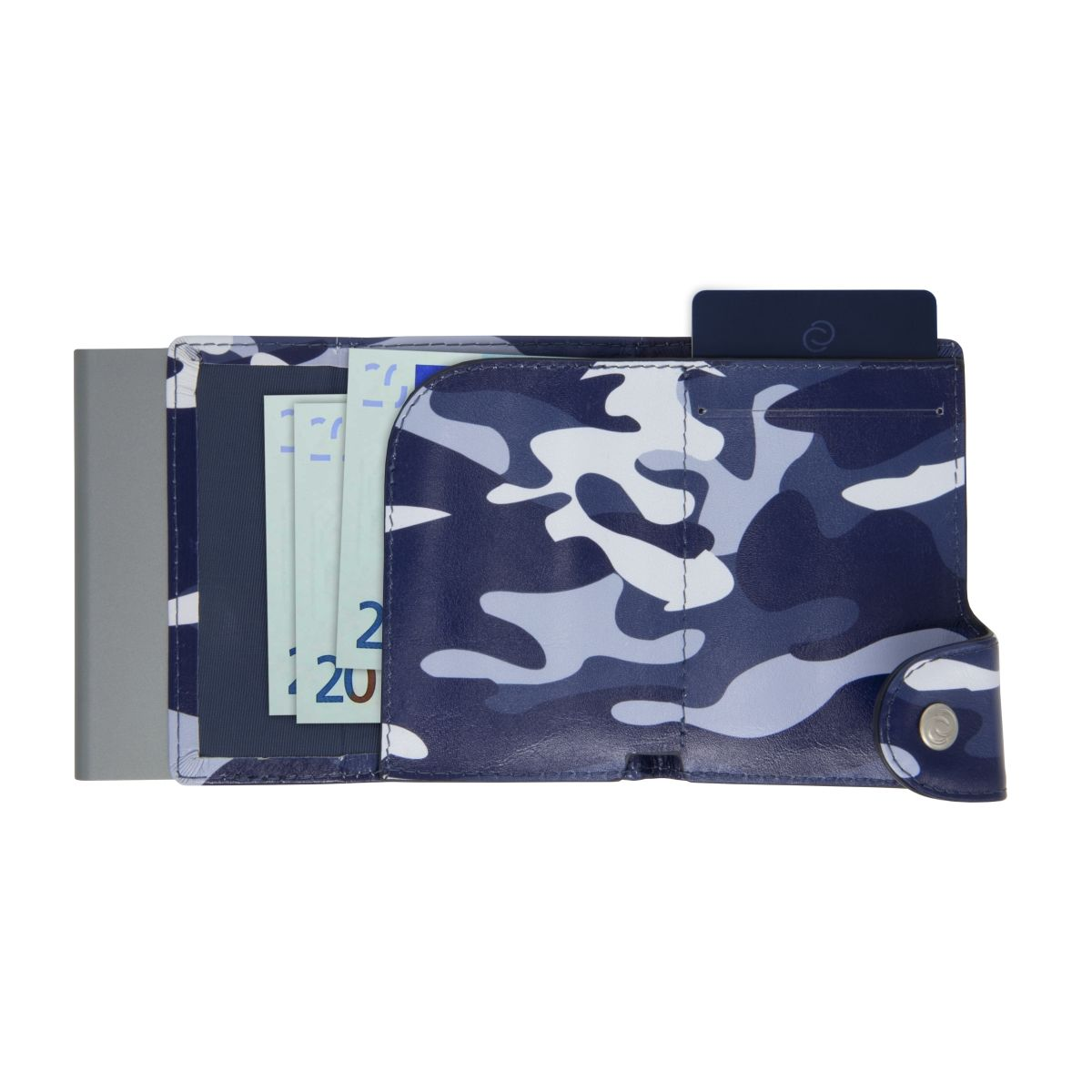 C-Secure Aluminum Card Holder with Genuine Leather - Camo Blue