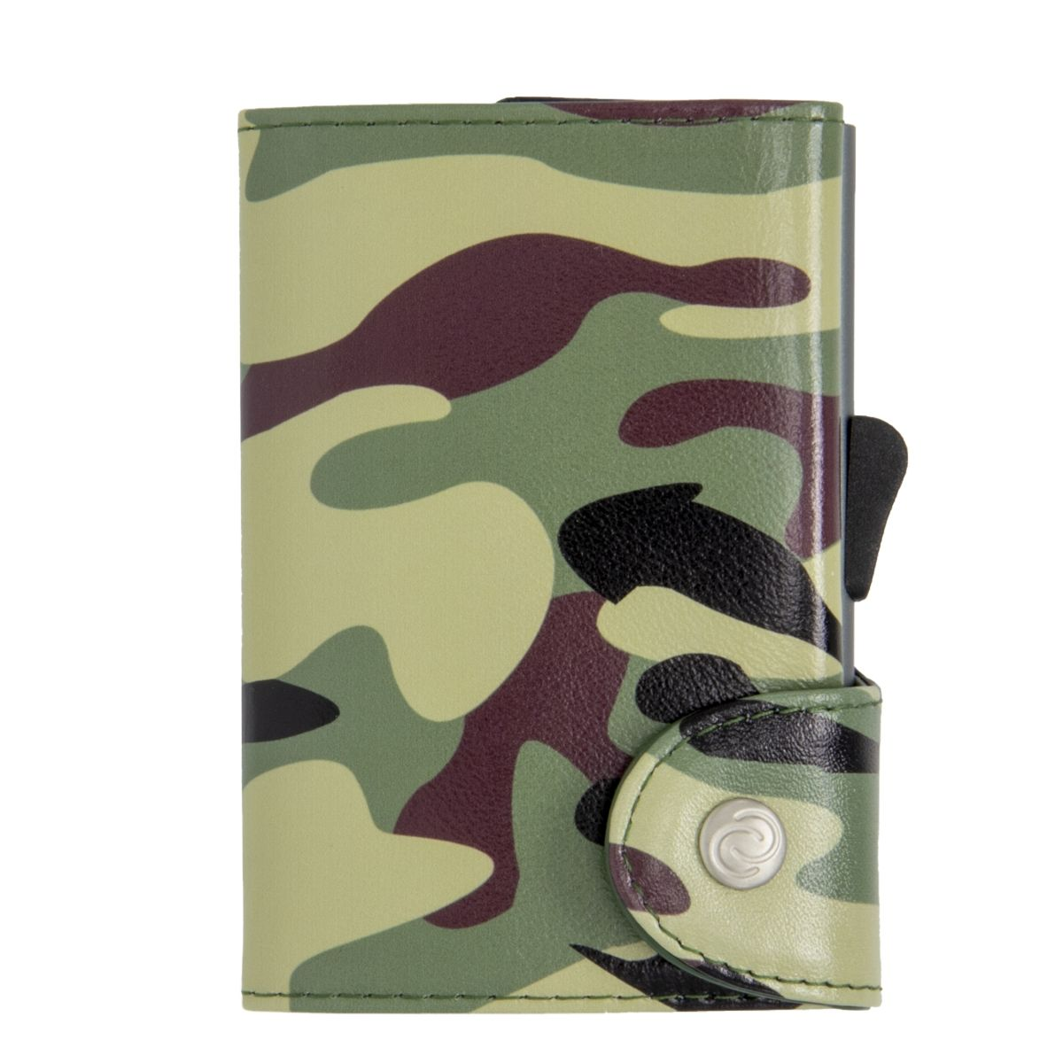 C-Secure Aluminum Card Holder with Genuine Leather - Camo Green