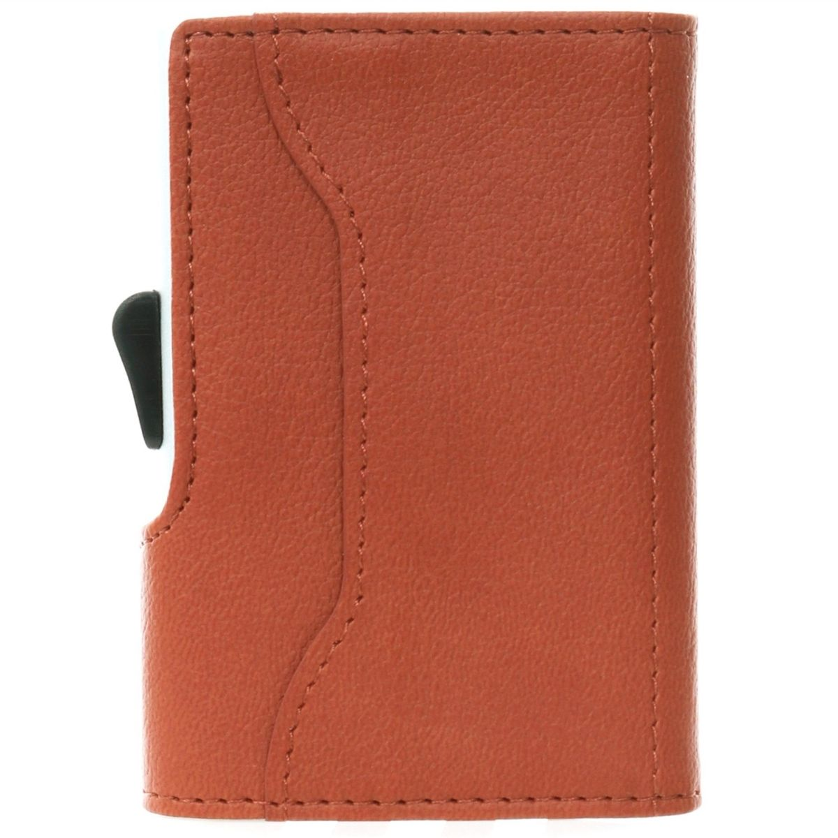 C-Secure Aluminum Card Holder with PU Leather - Light Brown