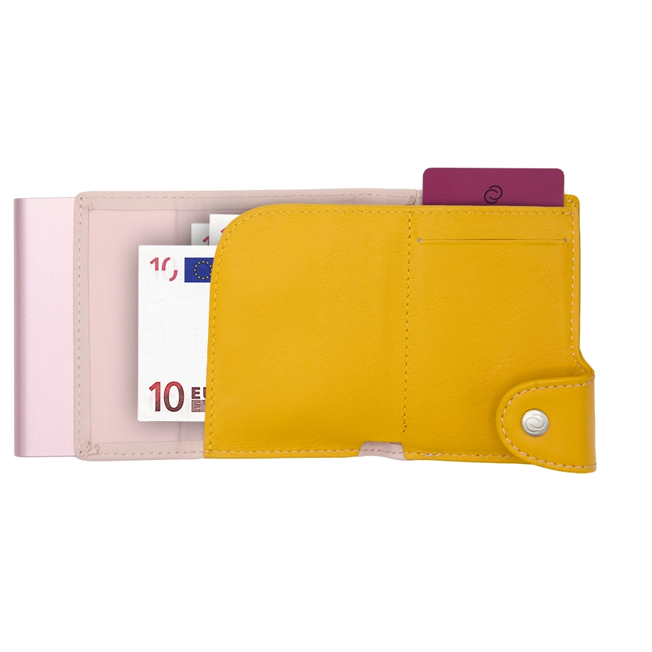 C-Secure Aluminum Card Holder with Genuine Leather and Coin Pouch - Blush/Saffron