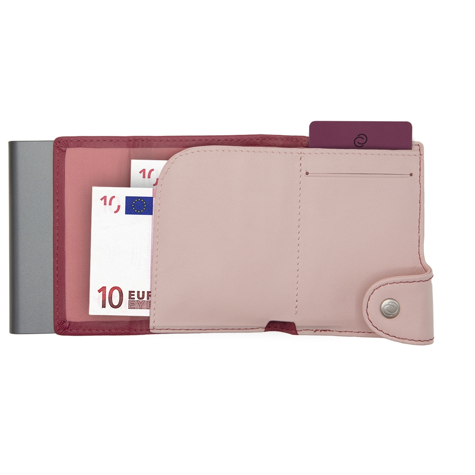C-Secure Aluminum Card Holder with Genuine Leather and Coin Pouch - Cherry/Blush