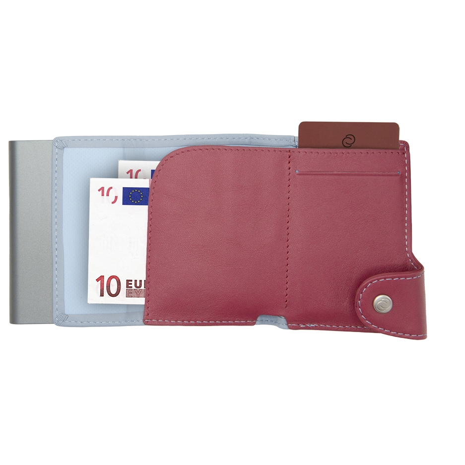 C-Secure Aluminum Card Holder with Genuine Leather and Coin Pouch - Ice/Cherry