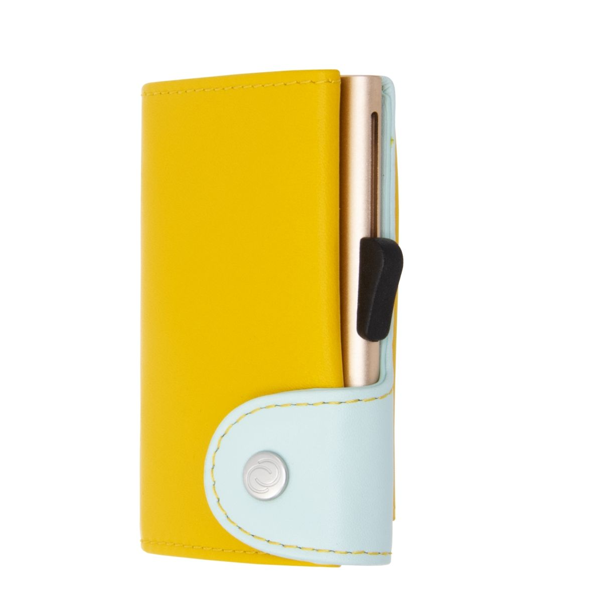 C-Secure Aluminum Card Holder with Genuine Leather and Coin Pouch - Saffron/Aqua