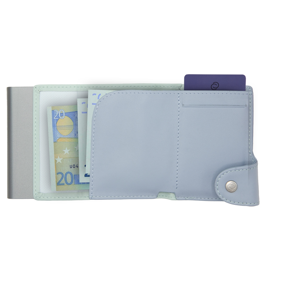C-Secure XL Aluminum Wallet with Genuine Leather and Coins Pocket - Aqua/Ice