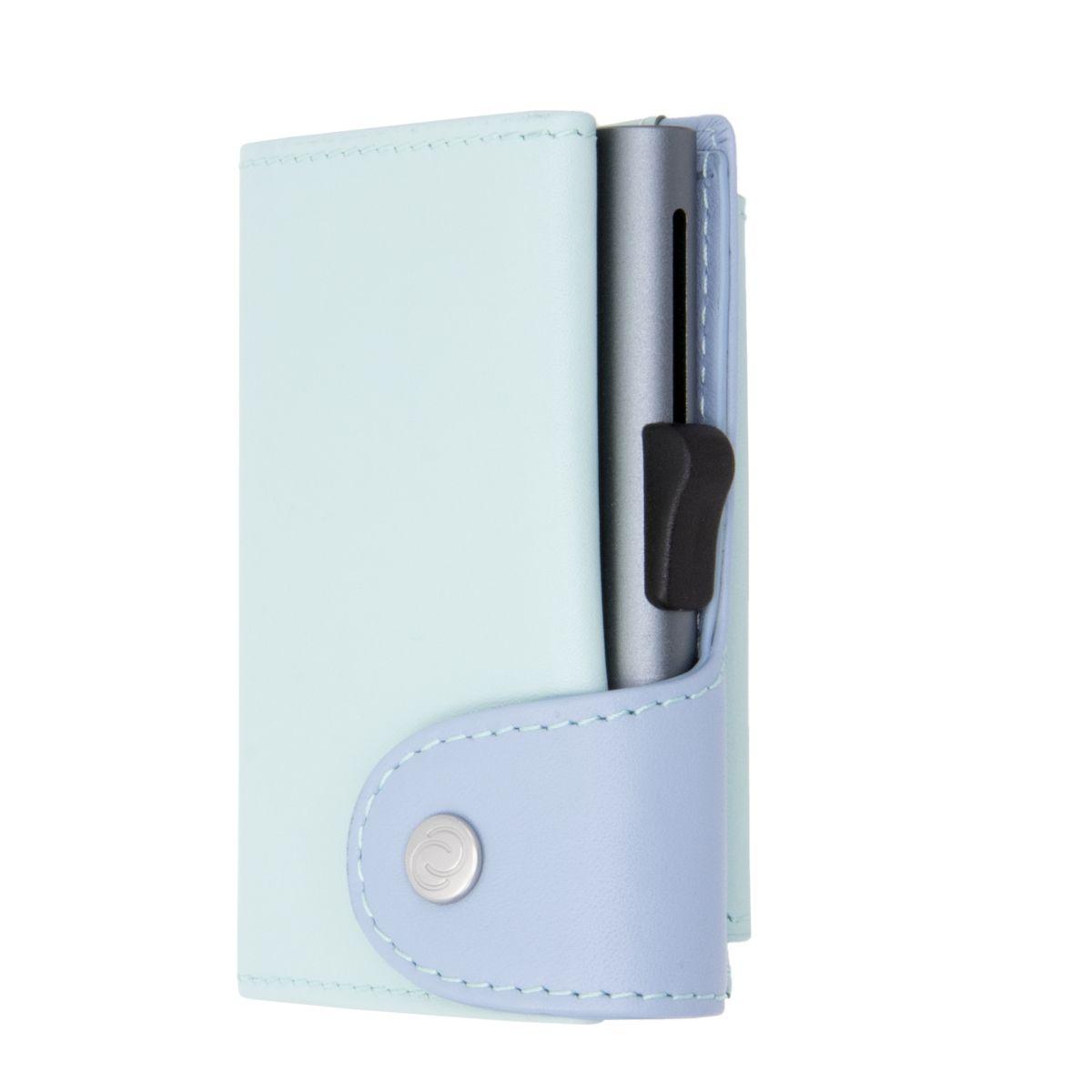 C-Secure ארנק אלומיניום XL בשילוב עור איטלקי עם תא למטבעות - טורקיז\כחול