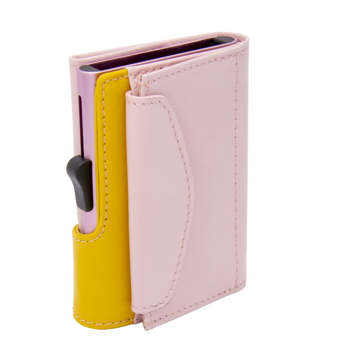XL Aluminum Wallet with Genuine Leather and Coins Pocket - Blush/Saffron