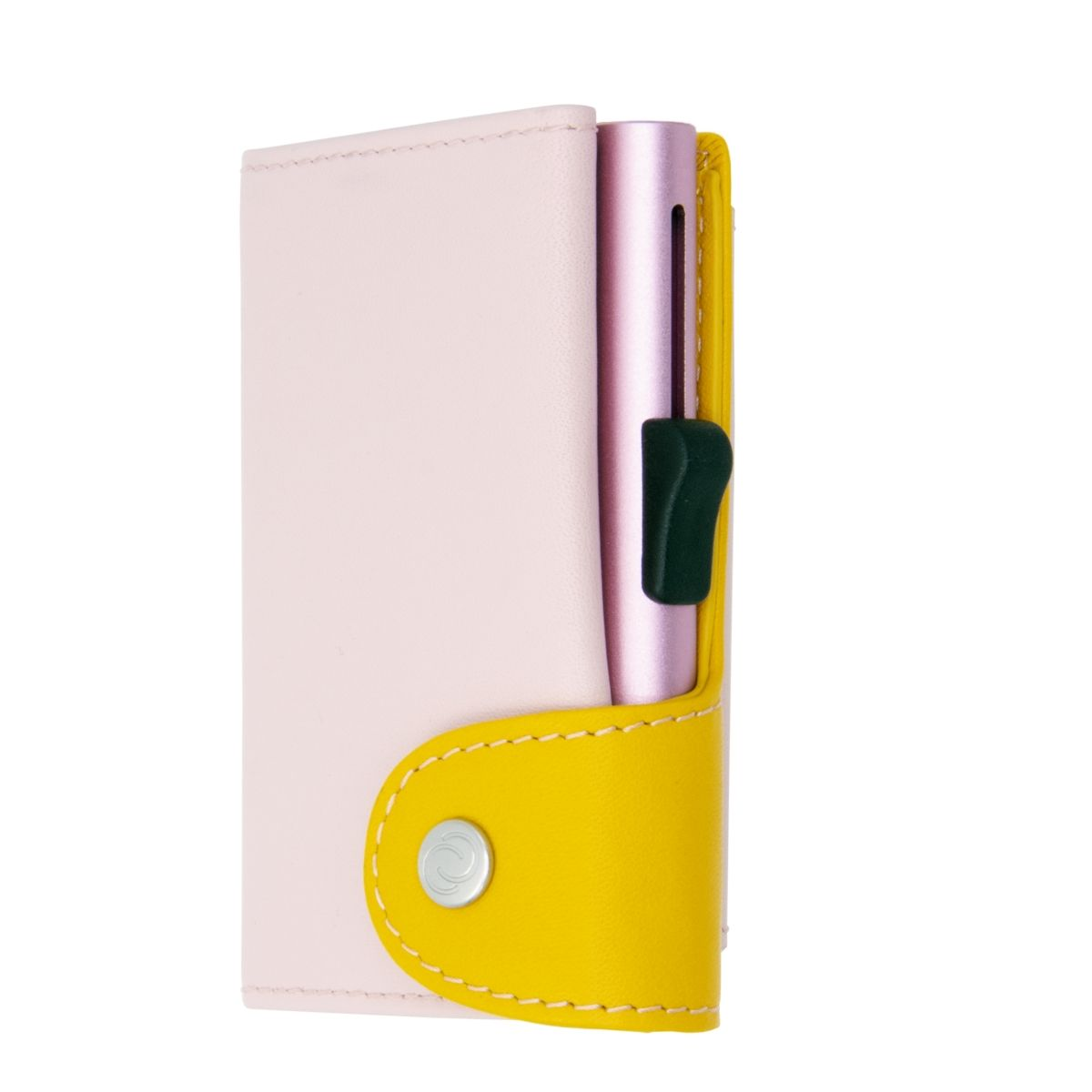 C-Secure XL Aluminum Wallet with Genuine Leather and Coins Pocket - Blush/Saffron