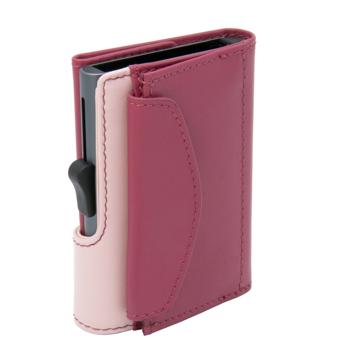 C-Secure XL Aluminum Wallet with Genuine Leather and Coins Pocket - Cherry/Blush
