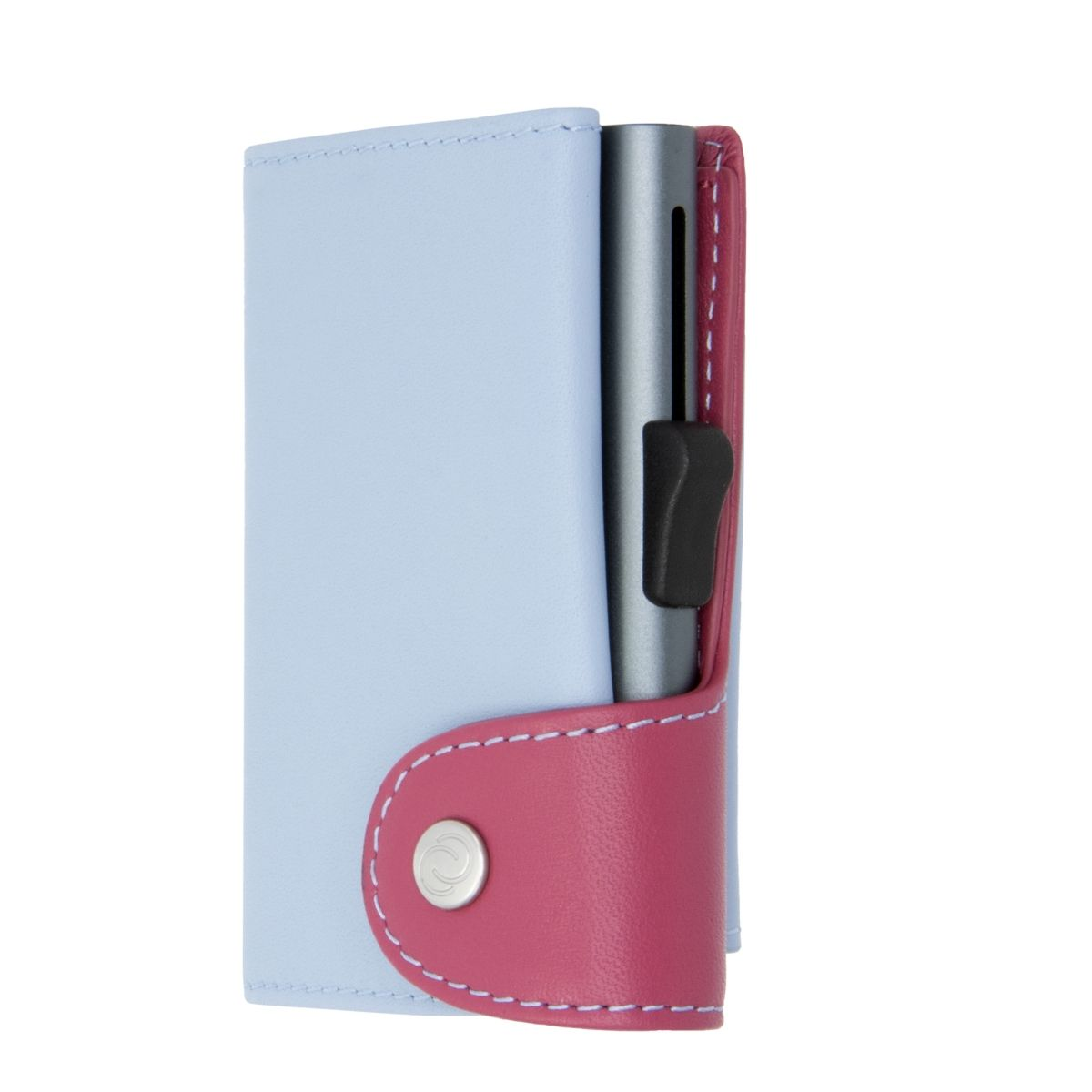 C-Secure XL Aluminum Wallet with Genuine Leather and Coins Pocket - Ice/Cherry