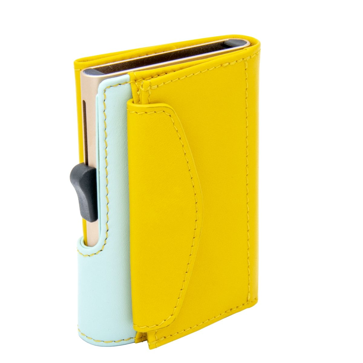XL Aluminum Wallet with Genuine Leather and Coins Pocket - Saffron/Aqua