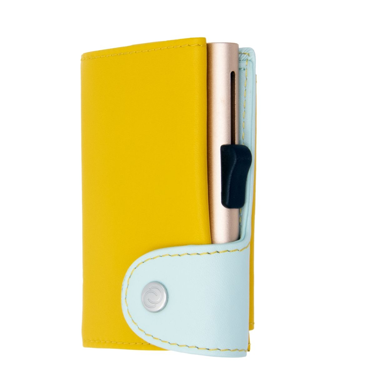 C-Secure XL Aluminum Wallet with Vegetable Genuine Leather and Coins Pocket - Saffron/Aqua