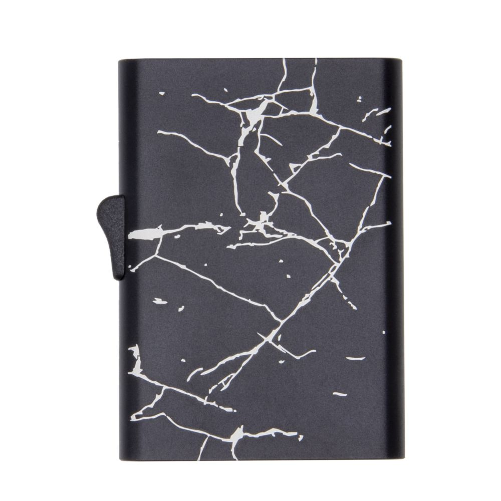 C-Secure Slim RFID XL Aluminum Card Holder - Black Marble