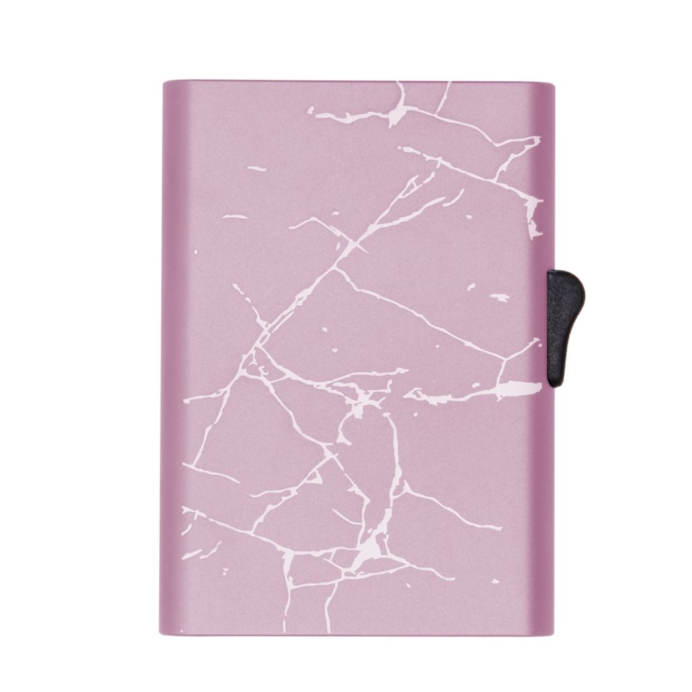 C-Secure Slim RFID XL Aluminum Card Holder - Rose Gold Marble