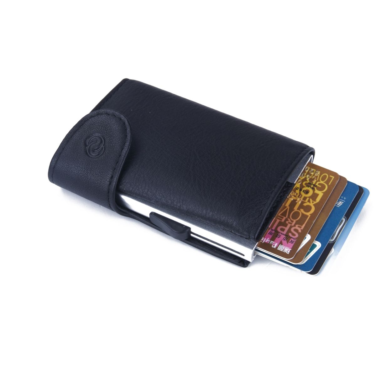 Aluminum Card Holder with Genuine Leather - Black