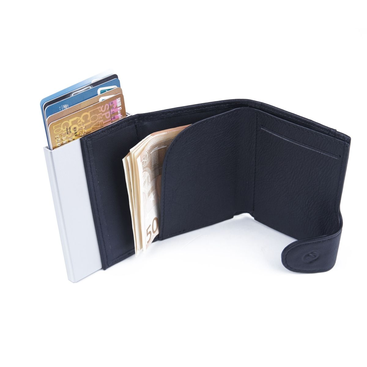 C-Secure Aluminum Card Holder with Genuine Leather - Grey