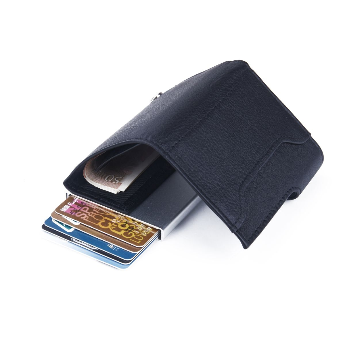 C-Secure Aluminum Card Holder with PU Leather - Black