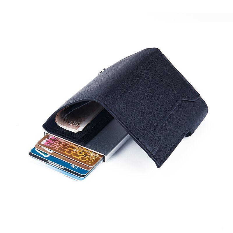 C-Secure ארנק אלומיניום בשילוב עור סנטטי - אפור