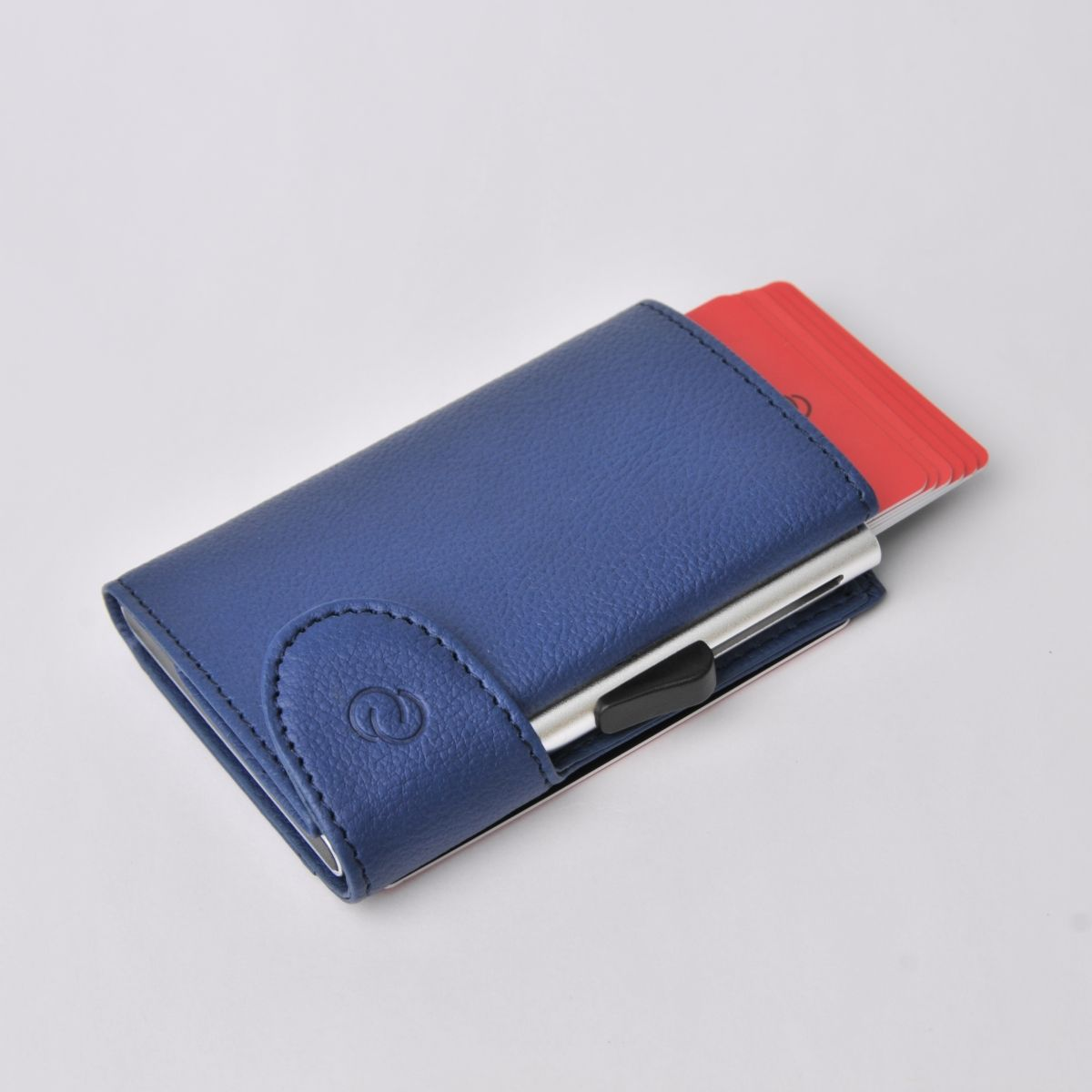 C-Secure Aluminum Card Holder with Genuine Leather - Blue