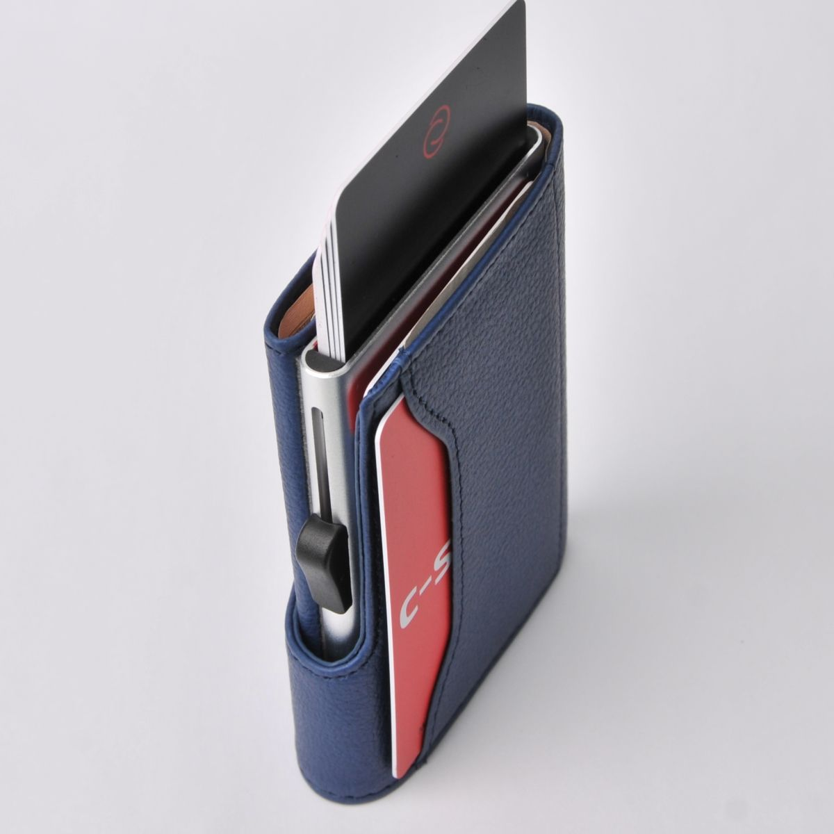 C-Secure Aluminum Card Holder with Genuine Leather - Blue Marino