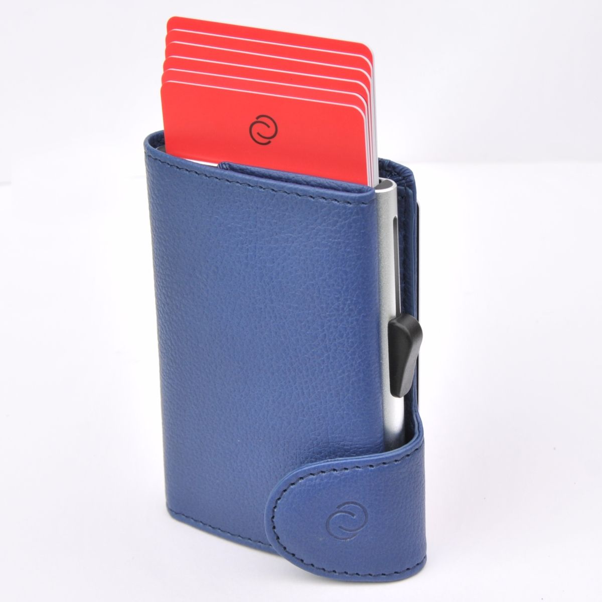 Aluminum Card Holder with Genuine Leather - Blue