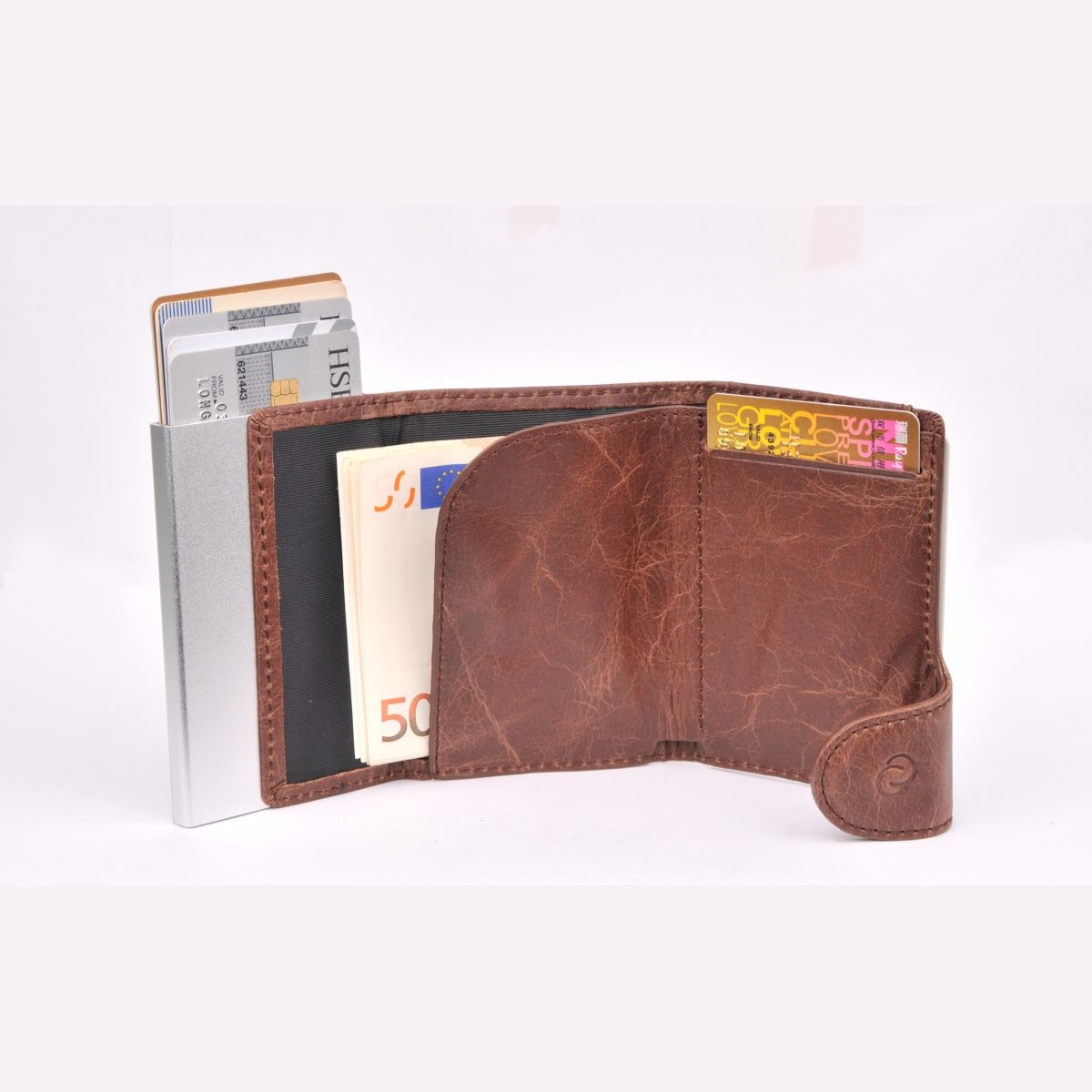 Aluminum Card Holder with Genuine Leather - Dark Brown